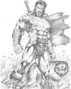 Superman - Marcio Abreu by on DeviantArt What? Superman in Time? Superman the Barbarian? Superman Drawing, Comic Drawing, Superman Artwork, Rogue Comics, Dc Comics Art, Comic Books Art, Book Art, Comic Character, Character Design