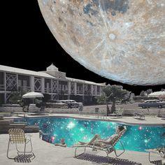 Space holiday. Annette von Stahl vintage collage.
