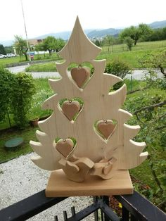 Handmade christmas tree with heart decorations in Wooden Christmas Decorations, Christmas Wood Crafts, Handmade Christmas Tree, Heart Decorations, Xmas Tree, Christmas Projects, Holiday Crafts, Christmas Crafts, Christmas Ornaments