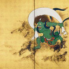Sakai Hoitsu 風神雷神図屏風(右隻) 酒井抱一筆  所蔵先 出光美術館