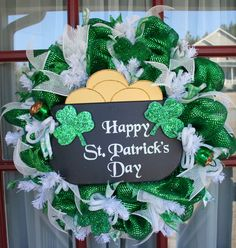 Happy St. Patrick's Day Emerald Green And White Deco Mesh Wreath by Crazyboutdeco on Etsy