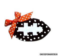 Football... Fabric Iron On Applique... You Choose Your Own Ribbon... by onceuponadesign.etsy.com, $3.50