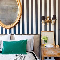 Stripes, if done well, can give a room a sophisticated French or Ralph Lauren vibe. Get the look (image via Nuevo Estilo)