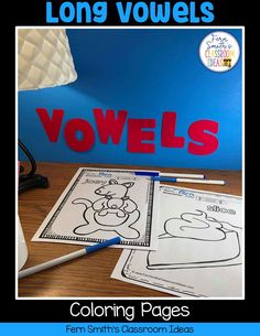 Your Students will ADORE these Coloring Book Pages for Long Vowels! Add it to your plans to compliment any Long Vowels Unit! 70 Coloring Pages For Some Long Vowel Fun! Perfect for bulletin board Second Grade Teacher, First Grade Classroom, First Grade Math, Fall Coloring Pages, Printable Coloring Pages, Coloring Books, Long U Words, Classroom Management Tips, Writing Lessons