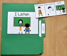 I Listen Folder Story : File Folder Games at File Folder Heaven - Printable, hands-on fun! Activities For Autistic Children, Early Learning Activities, Social Skills Activities, Autism Activities, Speech Therapy Activities, Social Stories Autism, Social Skills Autism, Social Emotional Learning, Work Folders