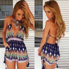 2015 New Sexy V Neck Spaghetti Strap Print Flower Jumpsuit Backless Casual Mini Playsuit Shorts Rompers for Women from Tfdmarket,$8.91 | DHgate.com