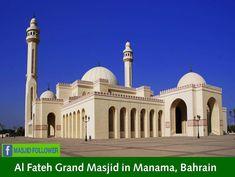 masjid in Manama Bahrain Manama Bahrain, Basic Grammar, Islamic Center, Beautiful Mosques, Islamic Architecture, Central Asia, Southeast Asia, Cami, Taj Mahal