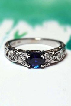 21 Magnificent Sapphire Engagement Rings ❤ Sapphire engagement rings are very popular. Look our gallery of gorgeous engagement rings with sapphires that include unique, classic and modern styles. Blue Wedding Rings, Celtic Wedding Rings, Wedding Rings Vintage, Vintage Rings, Wedding Jewelry, Bridal Rings, Vintage Style Weddings, Silver Celtic Rings, Art Deco Wedding Rings