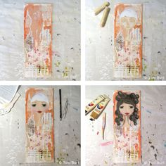 The artistic process of a mixed media artwork, this one features a lovely girl with gorgeous brunette locks! Apricot in the background....next she will get a dress and a quote.