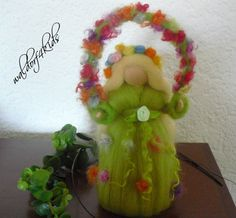 ooak needle felted fairy  elf with floral bow  by LittleWonders4u, $20.00