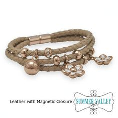 Leather Tan Triple Strand Bracelet with Magnetic Closure only $39