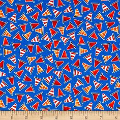 Be My Hero Mini Safety Cones Dark Blue from @fabricdotcom  Designed by First Blush Studio for Henry Glass & Co., this cotton print fabric is full of safety cones! Perfect for quilting, apparel and home decor accents. Colors include white, black, grey, red, blue and shades of orange.