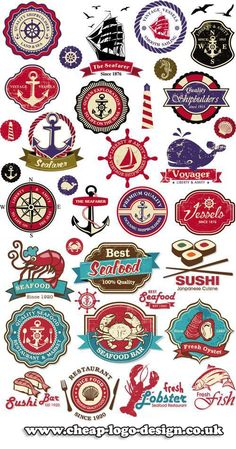 seafood and maritime logo ideas www.cheap-logo-design.co.uk #maritime #sushilogo #seafoodlogos