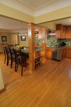Episode 402 of I Hate My Kitchen! Courtesy of DIY Network After removing a wall to expand this kitchen, plain/smooth red oak column wraps are used to integrate the exposed support posts into the overall design. Kitchen Reno, Kitchen Ideas, Column Wrap, Square Columns, Wood Columns, Diy Network, Fireplace Surrounds, Red Oak, Basement Remodeling