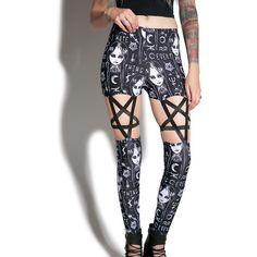 Lurking Evil Pentagram Leggings ($45) ❤ liked on Polyvore featuring pants, leggings, bottoms, cut out leggings, graphic leggings, elastic pants, high waist stretch pants and graphic print leggings