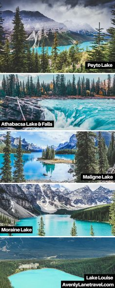 Incredible turquoise blue lakes in Alberta, Canada! Melting glaciers may create some very cold water, but the combination of light refracting of rock flour ground up by the glaciers creates the brilliant emerald glow of these lakes. Some of these lakes include Lake Louise, Maligne Lake, Peyto Lake and Moraine Lake. | 10 Amazing Things To See And Do In Alberta, Canada on avenlylanetravel.com. #avenlylanetravel #canada #travel