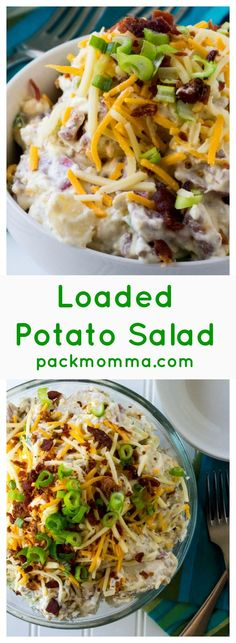 Loaded Potato Salad | Loaded Potato Salad is tender, creamy and fully loaded with tons of cheese, bacon and green onions.. It is the perfect addition to any summertime party. | Pack Momma | www.packmomma.com