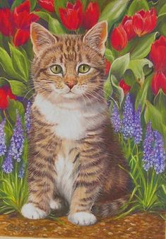 Cats and flowers in the painting. Discussion on LiveInternet - Russian Service Online Diaries and like OMG! get some yourself some pawtastic adorable cat apparel! I Love Cats, Crazy Cats, Cool Cats, Pretty Cats, Beautiful Cats, Illustration Au Crayon, Image Chat, Cat Drawing, Animal Paintings