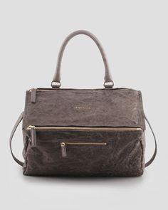 Givenchy Pandora Large Pepe Sheepskin Satchel Bag, Gray - Bergdorf Goodman