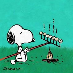 Snoopy - this is how to toast marshmallows