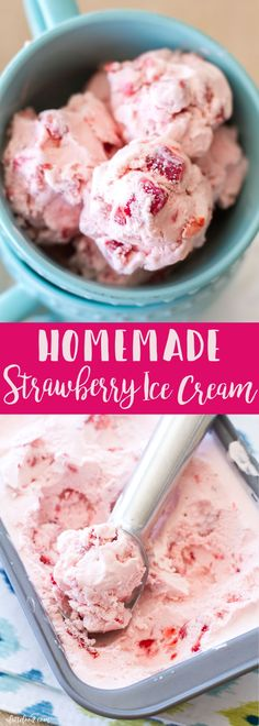 This Homemade Strawberry Ice Cream is creamy, dreamy, and made with fresh strawberries. It is so delicious and is the perfect summer ice cream! Homemade strawberry ice cream with real strawberries is to die for! Homemade Strawberry Ice Cream, Healthy Ice Cream, Homemade Ice Cream, So Delicious Ice Cream, Healthy Homemade Icecream, Easy Icecream, Gelato Homemade, Homemade Sorbet, Homemade Vanilla