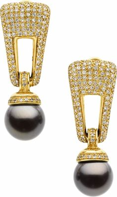 Black South Sea Cultured Pearl, Diamond, Gold Earrings