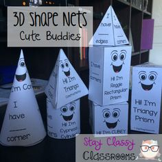 A cute way to add some fun to your teaching of 3D shapes!! Stay Classy Classrooms
