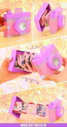 How to make an accordion camera gift card Cómo hacer una tarjeta cámara acordeón para regalo I teach them to make an accordion camera for a gift. Very few materials are needed and the procedure is very simple. Diy Birthday, Birthday Cards, Birthday Gifts, Diy For Kids, Crafts For Kids, Fun Crafts, Diy And Crafts, Album Diy, Diy House Projects