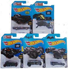 2016 Hot Wheels Mainline 1:64 Batman Batmobile 5-Car Set;Batman v Superman Batmobile;Arkham Knight Batmobile;The Dark Knight Batmobile (Black);Classic TV Batmobile & The Bat...
