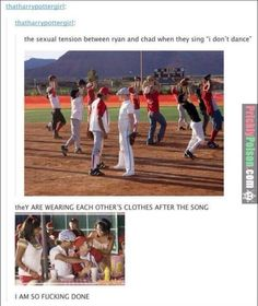 Hahaha I'm crying! High school musical funny. Disney. Tumblr. Ryan and chad tension. Hilarious.