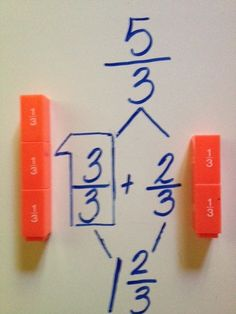 Love this concrete way to teach improper fractions and mixed numbers! This teacher used math manipulative to help the students use prior knowledge of the fraction blocks to help them when solving improper fractions. Teaching Fractions, Math Fractions, Teaching Math, Adding Fractions, Comparing Fractions, Multiplication, Math Strategies, Math Resources, Math Activities