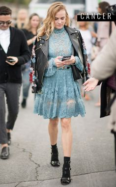 Diane Kruger from November 2016 Horoscopes  A feminine lacy blue dress paired with your favorite leather jacket is not only your color, but this is a synonymous look for you. The month of November brings you closer to your true essence, and may even bring someone new (if you're single) into your life after the 5th. If you're already in a relationship, things get a whole lot deeper—especially after the 21st. This look will have you date-ready.