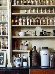 Fine Art Print Available! - 'Mortar And Pestle And Bottles On Shelves' by Susan Savad - This old fashioned pharmacy has a large variety of medicines for its patrons, You can also see a mortar and pestle on one of the shelves which was used to grind powders for use in making medicines. #pharmacy #pharmacist #doctor AS LOW AS $37