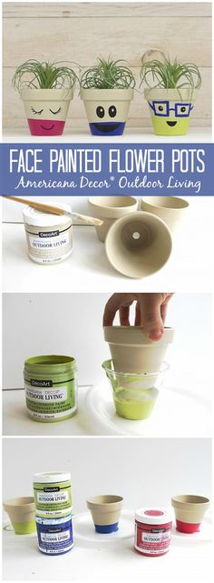 """Painted Kid Face Pots 