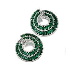 PAIR OF EMERALD AND DIAMOND EARRINGS, MICHELE DELLA VALLE Each of hoop design, set with two lines of graduated oval emeralds, each bordered by lines of brilliant-cut diamonds, mounted in white gold, signed MdV and numbered, fitted case.