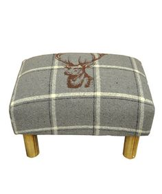 Take a look at this Grey Tartan Stag Tweed Foot Stool by Minster Stylish Living on #zulily today!