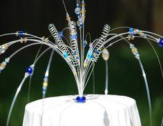 Funky handmade wedding cake topper #peacockwedding