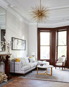 Arteriors Chandelier - A Brooklyn Townhouse by Nicole Gibbons - Home Tour - Lonny