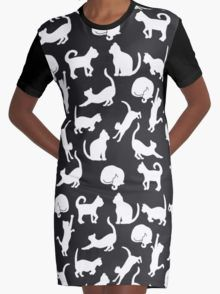 Cats: Black and White Graphic T-Shirt Dress
