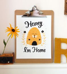Honey Im Home. Show your home some love with this sweet as honey print. This print is perfect for honey and bee lovers alike! This would be a charming Backyard Beekeeping, Quirky Gifts, Save The Bees, Bee Keeping, Little Houses, Inspirational Gifts, Home Art, How To Draw Hands, Great Gifts