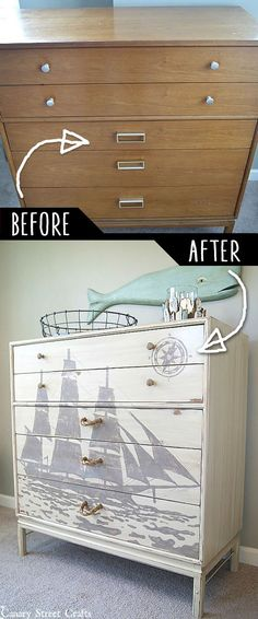 DIY Furniture Makeovers - Refurbished Furniture and Cool Painted Furniture Ideas for Thrift Store Furniture Makeover Projects | Coffee Tables, Dressers and Bedroom Decor, Kitchen | Ship Silhouette Chest of Drawers Makeover #diy #furnituremakeover #diyfurniture Bedroom Furniture Makeover, Refurbished Furniture, Repurposed Furniture, Painted Furniture, Bedroom Ideas, Headboard Makeover, Chair Makeover, Antique Furniture, Diy Bedroom Decor
