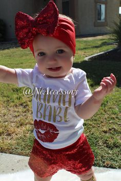 Red Sequin Bow Sparkly Bow Headband Big Child Bow by NeAccessory