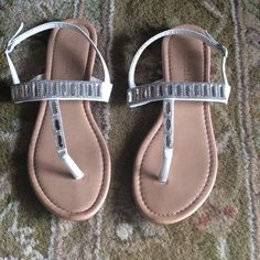 Rhinestone flops Very pretty white rhinestone sandals. Only sign of wear is on the bottom, see pics! 👙 Shoes Sandals