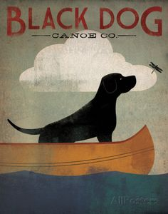 Black Dog Canoe Prints by Ryan Fowler at AllPosters.com