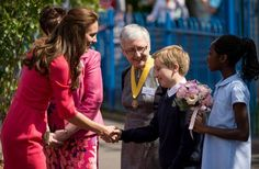 This morning (July 1, 2014) the Duchess of Cambridge greeted children while visiting Blessed Sacrament Primary School in Islington, North London to check on the progress of the M-PACT Plus project.