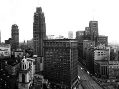 A view of downtown Detroit with Kern's and Hudson's