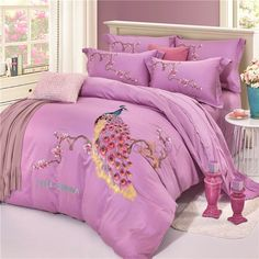 Embroidery Peacock and Flowers Light Purple 4-Piece Cotton Sateen Bedding Sets/Duvet Cover