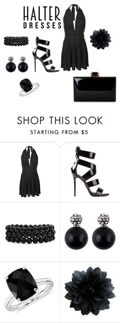 """Halter Dress"" by justbrandy79 on Polyvore featuring Pilot, Giuseppe Zanotti, Bling Jewelry, Blue Nile and halterdresses"
