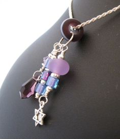Amethyst glass bead and crystal Charm set with by HorkoverGlass, $56.00