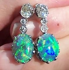 Black opal earrings, with funky mine-cut diamonds, said to be from the '20s